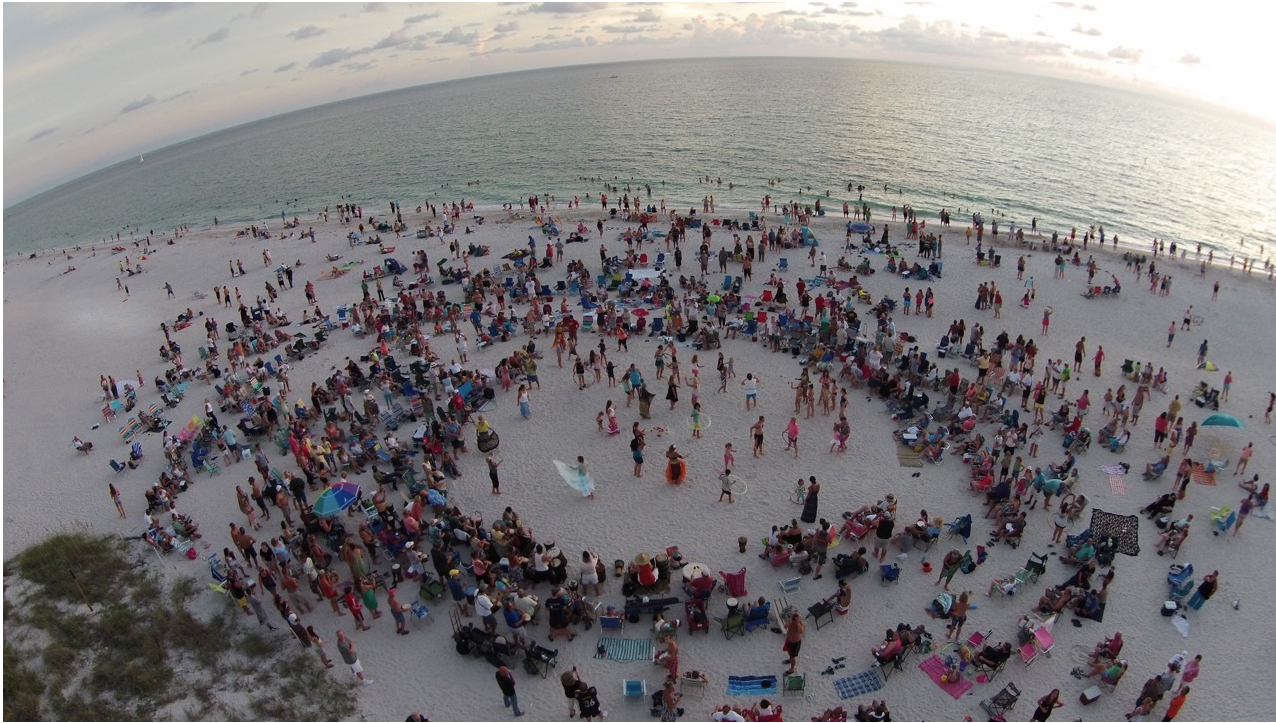 Siesta Key's Drum Circle takes place every Sunday on Siesta's powdery beach. Photo Credit Kenny Brooks