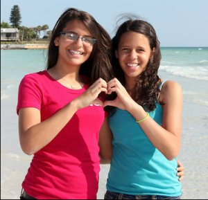 Jennifer Lopez (15) and her sister Danndara (14) from Miami