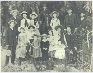 The Whitaker family, along with other early Sarasota settlers, gathered for a picnic on what is today Golden Gate Point in 1866. Photo courtesy Sarasota County Historical Society.