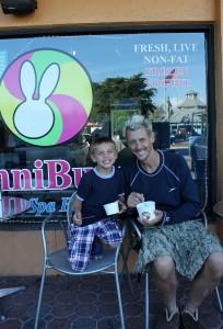 River (5) and Jack from PA enjoying a yogurt at Sunni Bunni