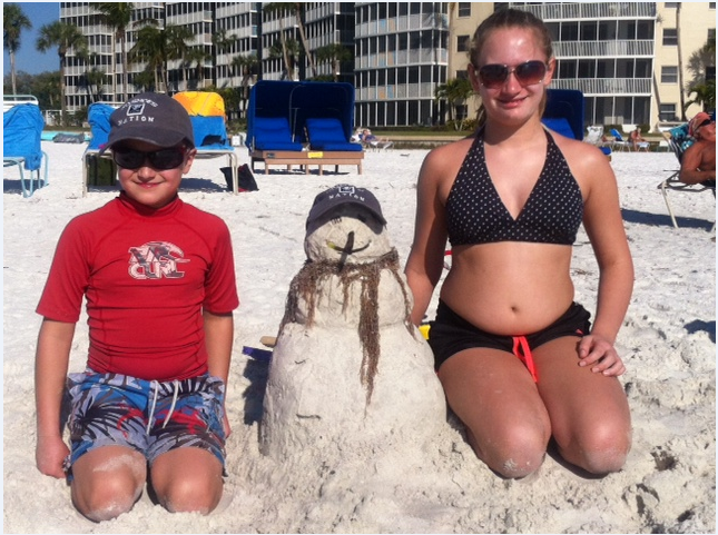 Visiting Grampa on siesta key. James (9) and Amanda (11) Ares from Northborough, MA