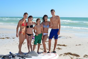 Bikem, Sasha, Bertug, Karla, Burke – all enjoying the surf at Crescent Beach (from Sarasota).