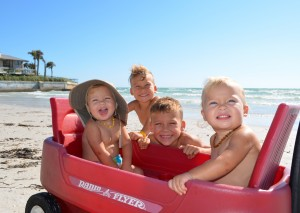 in the wagon – Phoebe & Scarlet (twins age 18 months) Baron age 3, Oakely age 6 - Crescent Beach, from Bradenton
