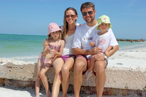 Ella age 4, Dagmar, Dave, Sonia age 2, from Siesta Key
