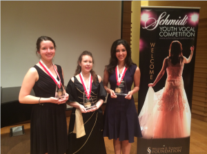 COURTESY PHOTO The top three winners at the Schmidt Youth Vocal Competition included (l-r) Esther Aline Schneider (3rd place), Rachel Steinbacher (2nd place) and Monica Gonzalez (1st place). Gonzalez is a senior at Venice High School and plans to pursue a career in vocal art.