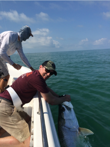 Matt Krycinski from Bedford, VA while fishing with Mason Tush on Saturday landed, released and DNA his first tarpon!