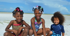Jayla age 5, Val age 7 & Jessee age 4, from SRQ – they were so excited to be at the beach!