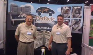 Joe Volpe (left) and son, Charlie at a trade show.
