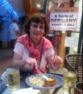 Inge Angie enjoying the Schnitzel at A Taste of Germany