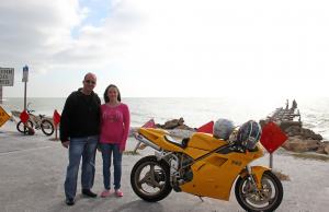Brandy and Alex cruising SK on his eye-catching, Ducati 748.