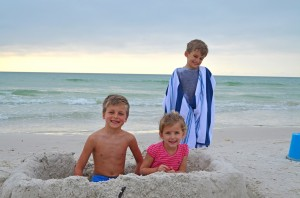 Max age 7, Mia age 5, and Mason age 5 from Indiana, building sand castles & motes.