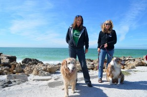Maureen & HoneyBear, Pam & Sydney from Siesta Key, enjoying a stroll.