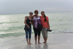 Athena and her mom, Louella (AZ) meet up with aunt/sister Wilma (WI) to dip their toes in the warm waters at Siesta Key beach. (Photo by Emy Stein)