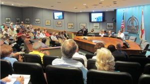 Army Corps officials presented details of the Lido Beach Storm Reduction Project at a packed meeting April 15