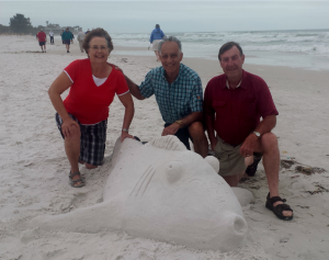 Diane, Ross and John from Burlington Ontario Canada.  They've been coming here for vacation every year for the past 20 years.  Photo by Donnarose Melvin