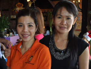 Owner, P'koong (right) with one of her lovely Thai servers