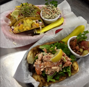 Lobster rolls and Hogfish Tacos with mango salsa