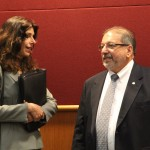 Alex DavisShaw speaks with Chair Al Maio before the meeting begins.