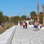 Beachgoers enjoy the new amenities at Siesta Public Beach.
