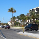 Island median on Beach Road with yellow marker