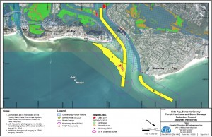 USACE Lido Renourishment seagrass plan graphic: A graphic the USACE submitted to FDEP last year shows documentation of seagrasses in the area of the renourishment project.