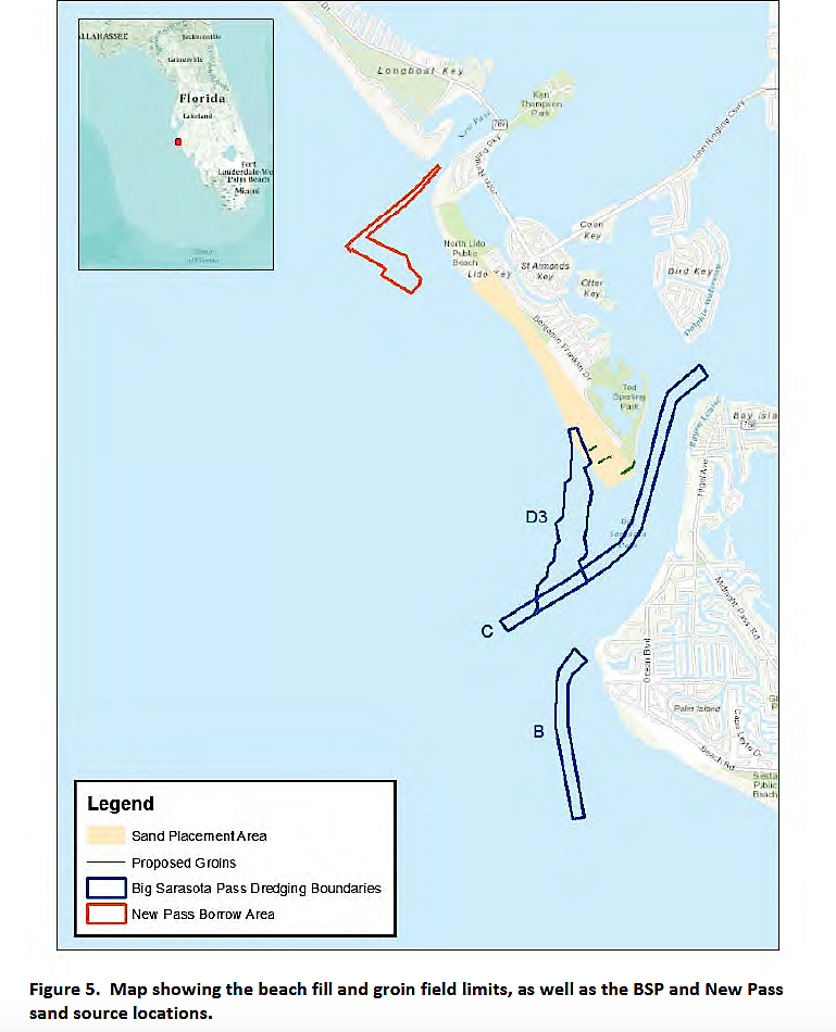 An increase in the amount of sand to be dredged from Big Pass to renourish Lido Key cited in latest documents submitted to FDEP