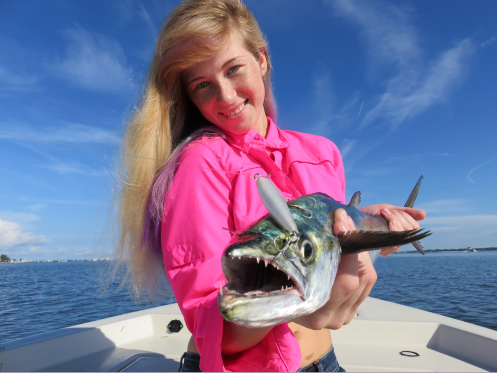 candice-shows-off-a-spanish-mackerel-that-was-fooled-by-a-rapala-x-rap
