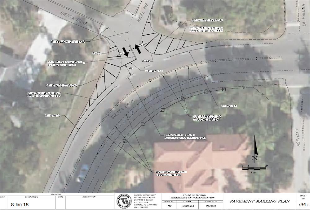 Pavement marking plan from FDOT