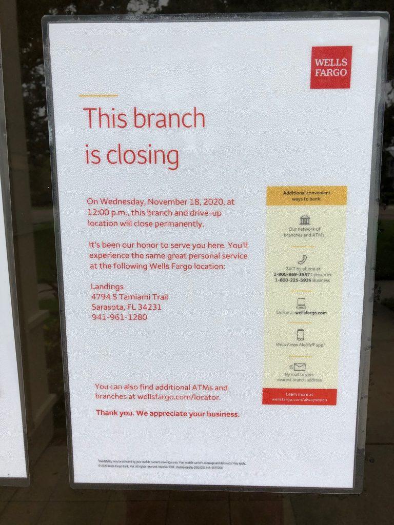 Wells Fargo Bank's Siesta Key Branch to Close
